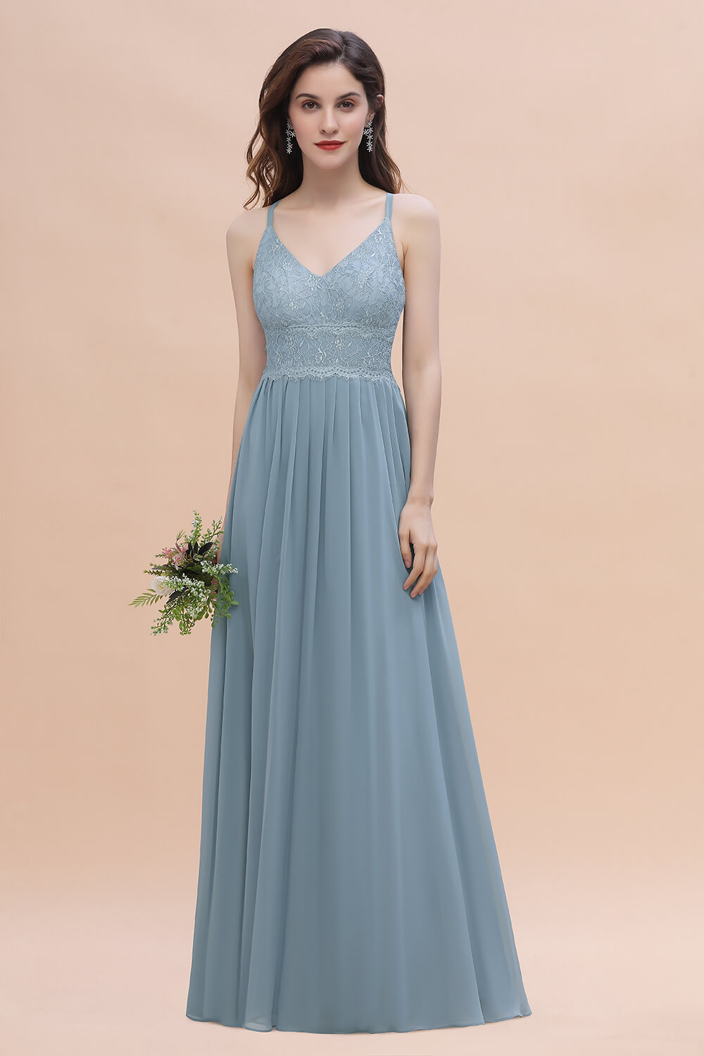 dusty blue lace bridesmaid dress