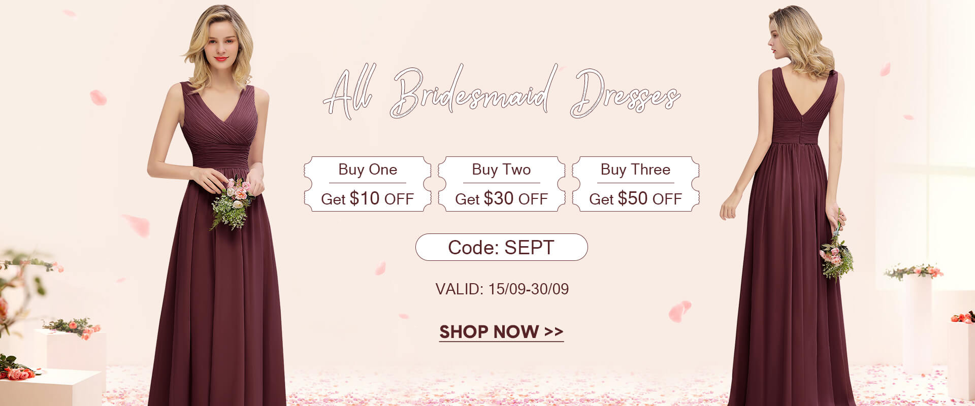 bridesmaid dresses, buy 3 get $50 OFF