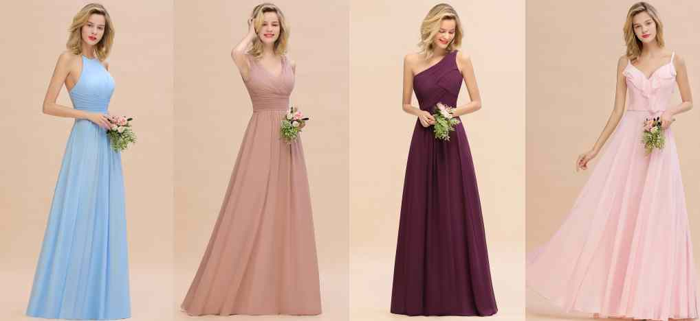 Dresses in different styles and colors