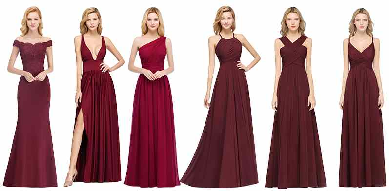 The dfferent dresses styles in same color