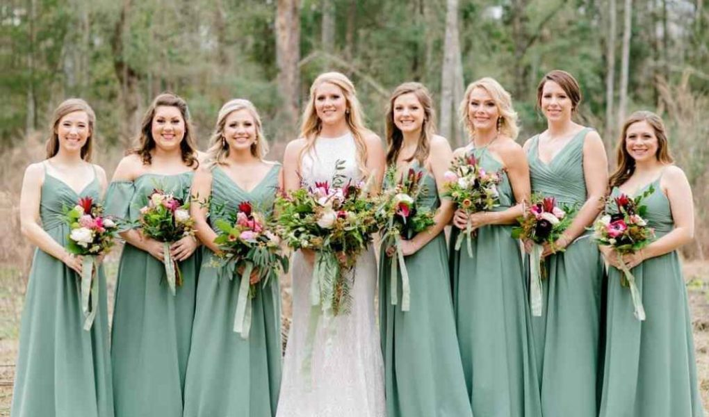 Show the mix and match bridesmaid dresses