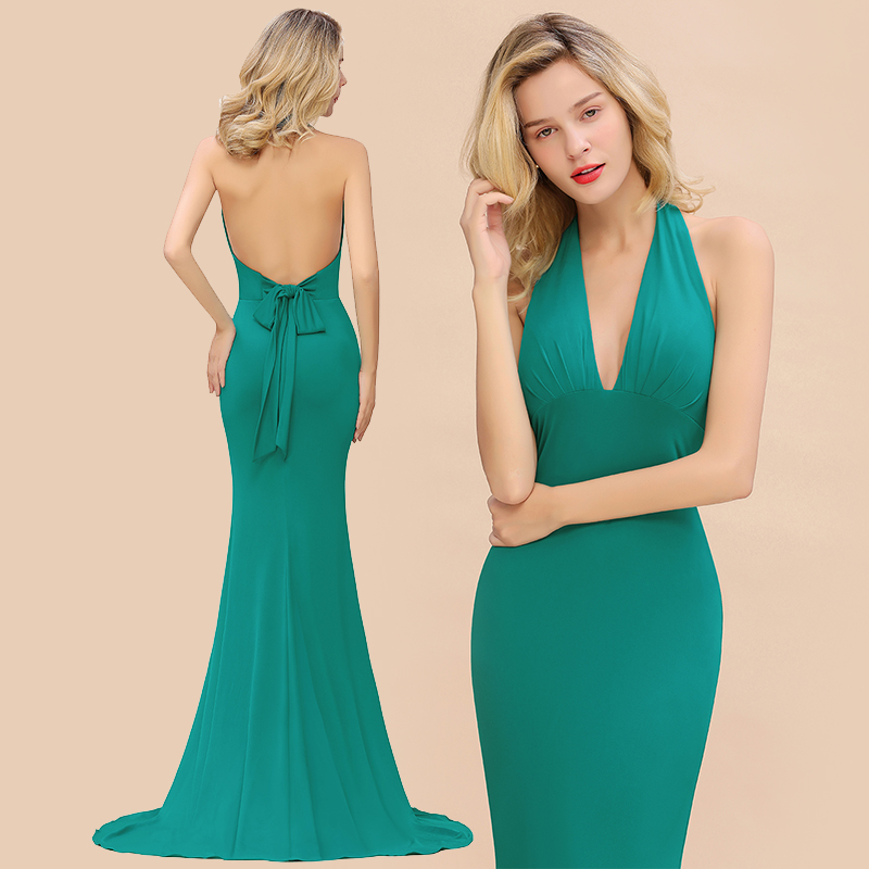 Dark Green Low Back Bridesmaid Dress