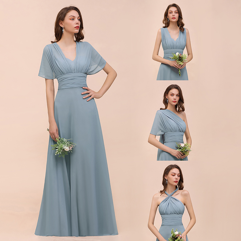 Dusty Blue Ruched Convertible Bridesmaid Dresses