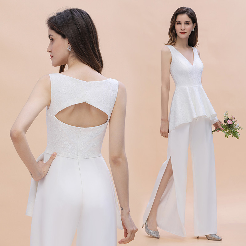 White Lace Bridesmaid Jumpsuit
