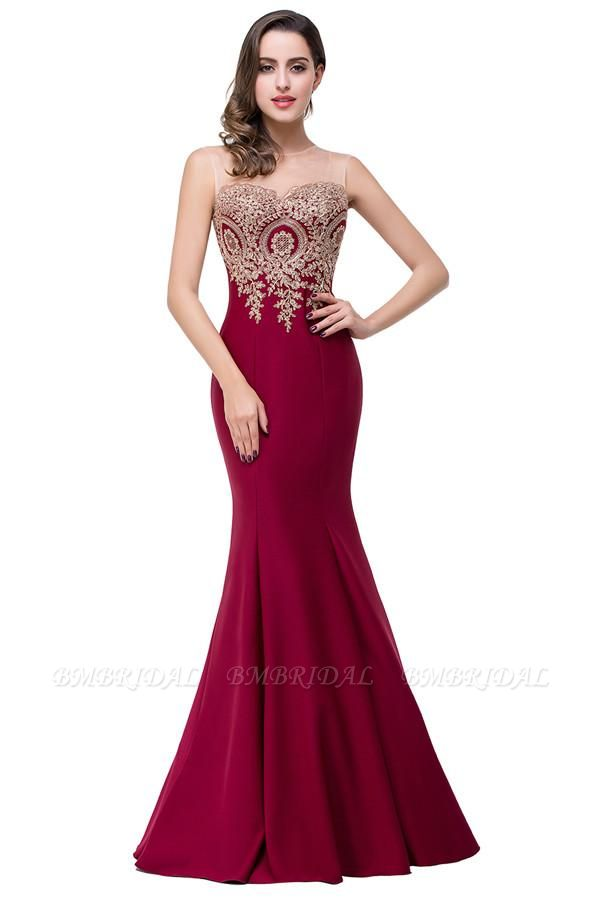 BMbridal Sleeveless Mermaid Long Evening Gowns With Lace Appliques