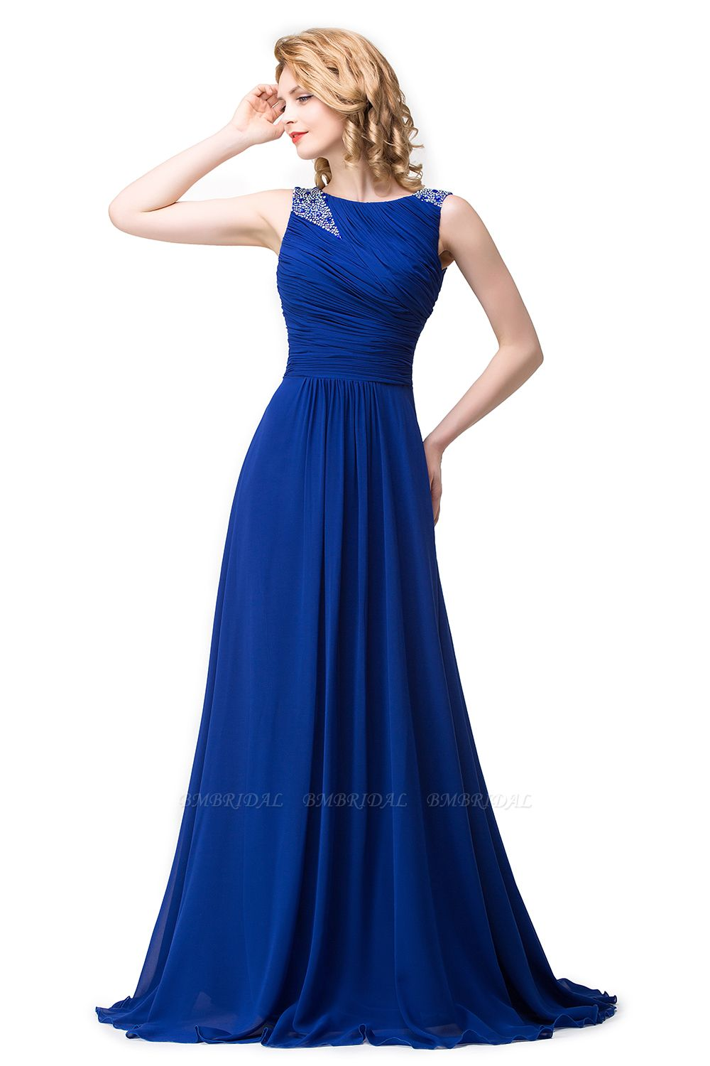 BMbridal Chiffon A-line Sexy Sparkly Crystal Long Prom Evening Dress