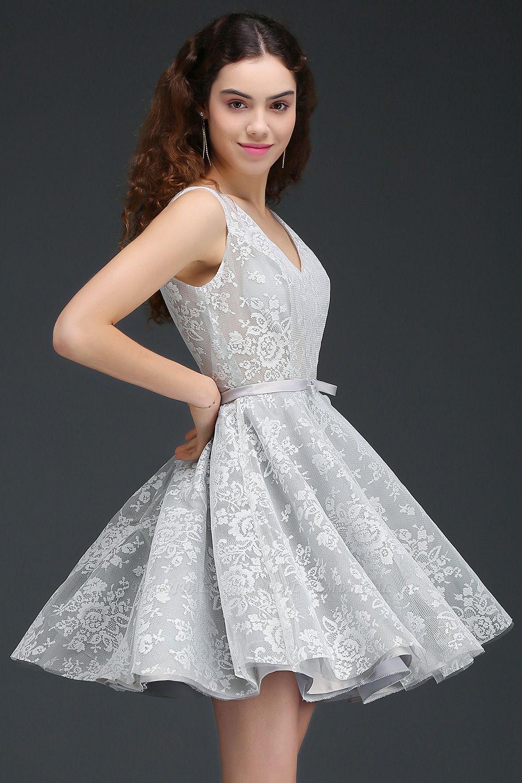 BMbridal Designer V Neck A Line Sheer Lace Short Homecoming Dress