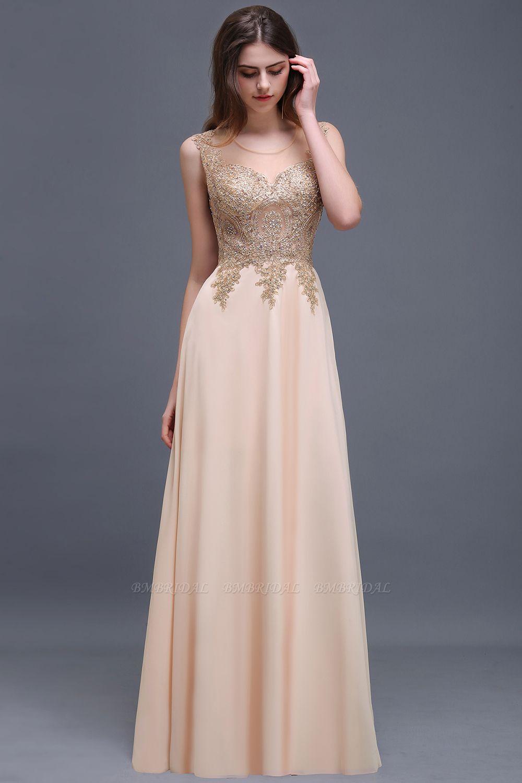 BMbridal Elegant Sheer Lace Applique Chiffon Floor Length Long Evening Dress