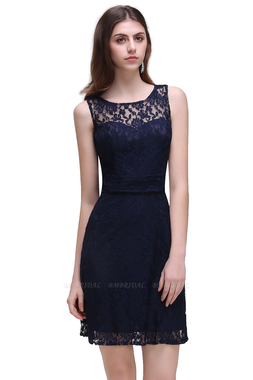 BMbridal Gorgeous Navy Blue Lace Short Prom Dress