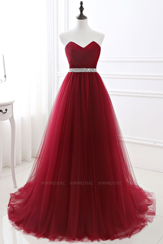 BMbridal modest sweetheart sleeveless beading a-line prom dress