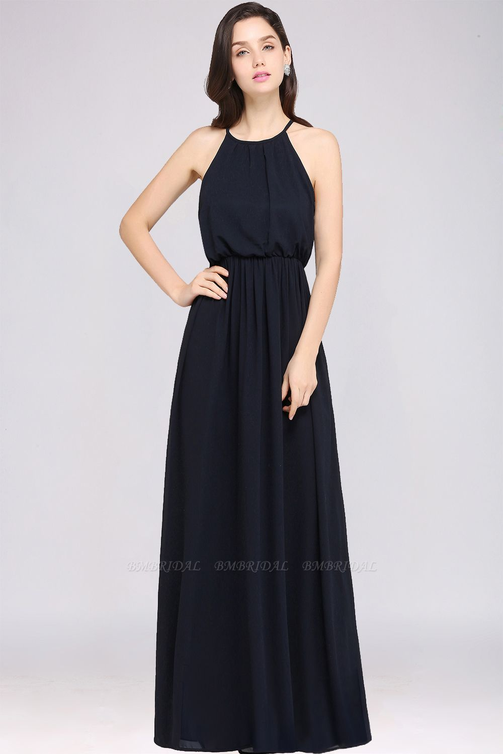 Simple A-line Halter Navy Chiffon Long Bridesmaid Dresses In Stock