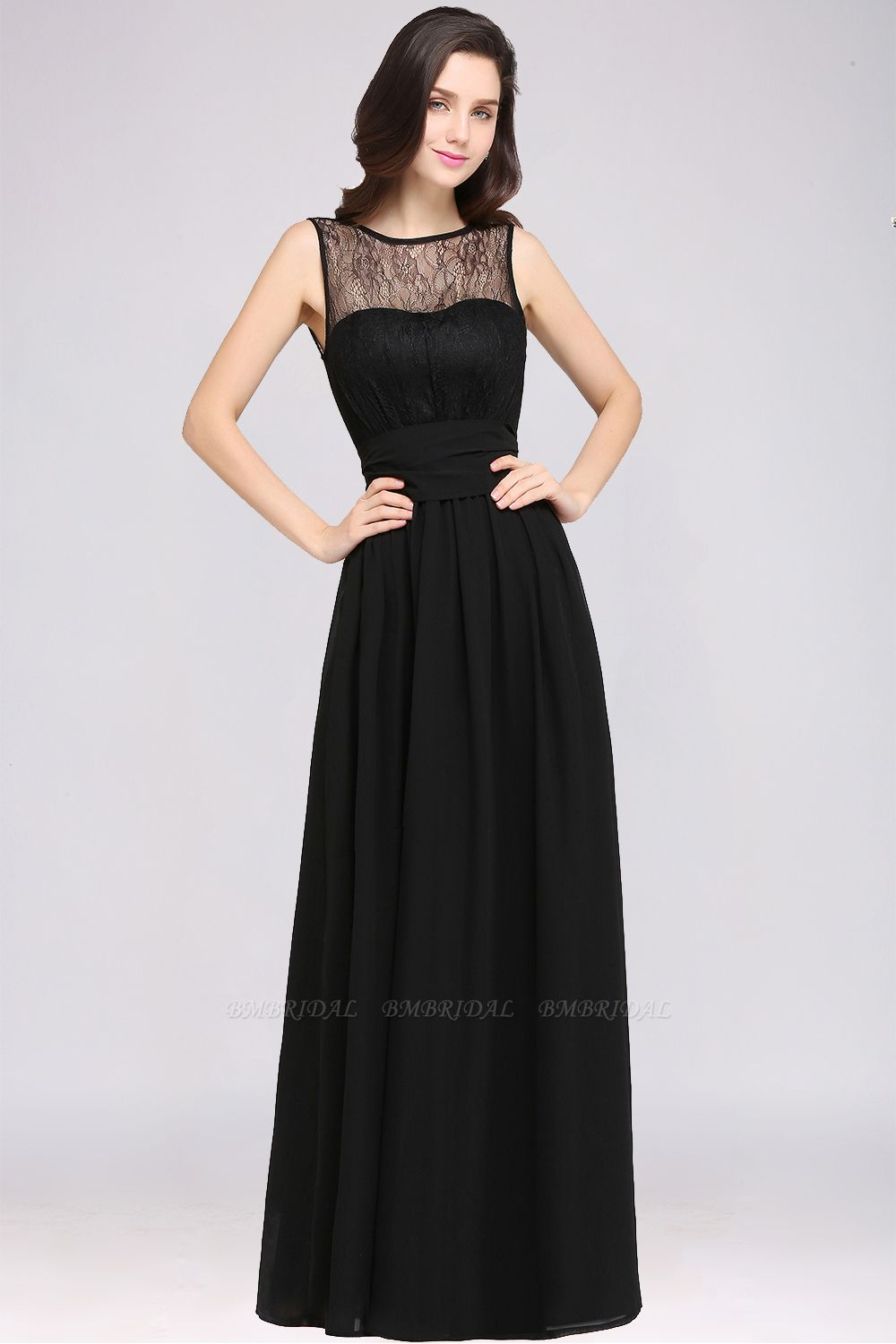 Sexy Black Chiffon Lace Long Cheap Bridesmaid Dresses In Stock