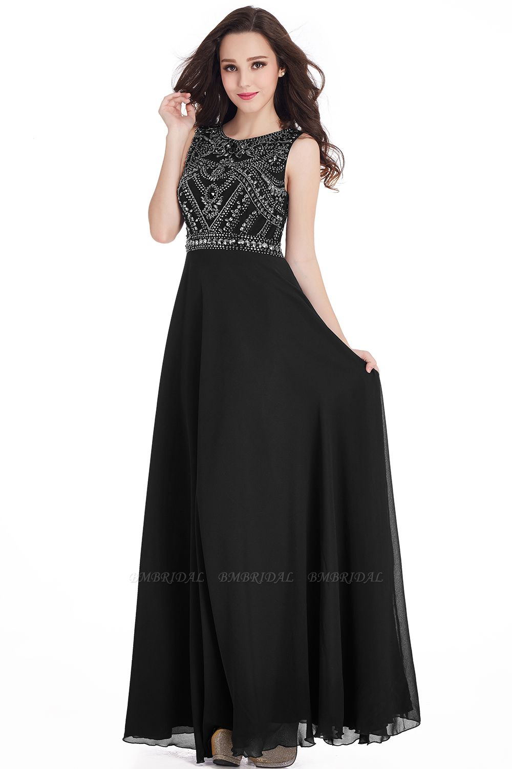 Gorgeous Sleeveless Crystal Long Prom Dress Chiffon Evening Gowns Online
