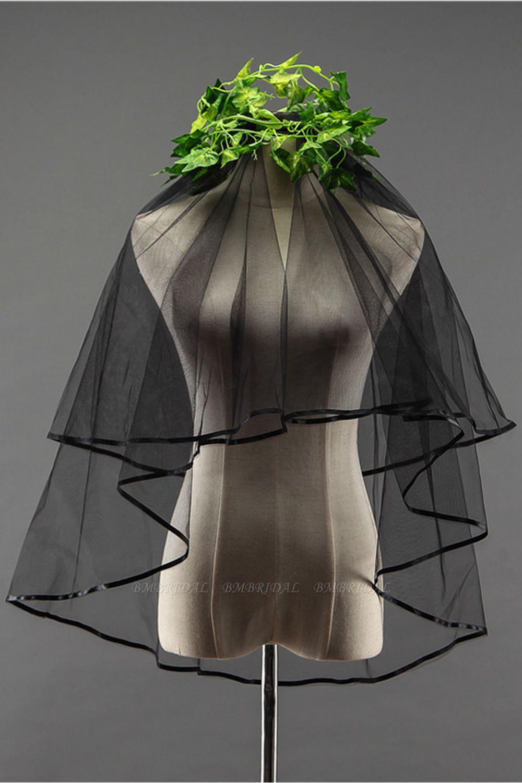BMbridal Sexy Black Tulle Ribbon Edge Wedding Veil