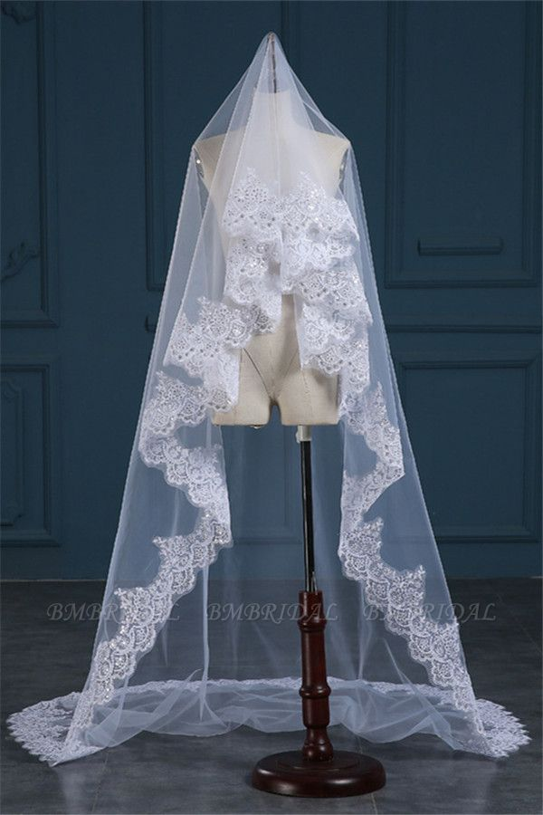 BMbridal Exquisite Tulle Lace Applique Edge Wedding Veil with Sequined