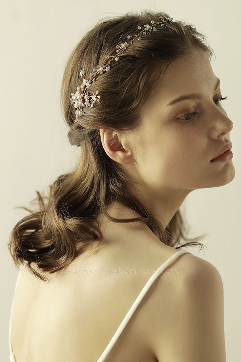 BMbridal Beautiful Alloy Rhinestone Special Occasion Headbands Headpiece with Imitation Pearls