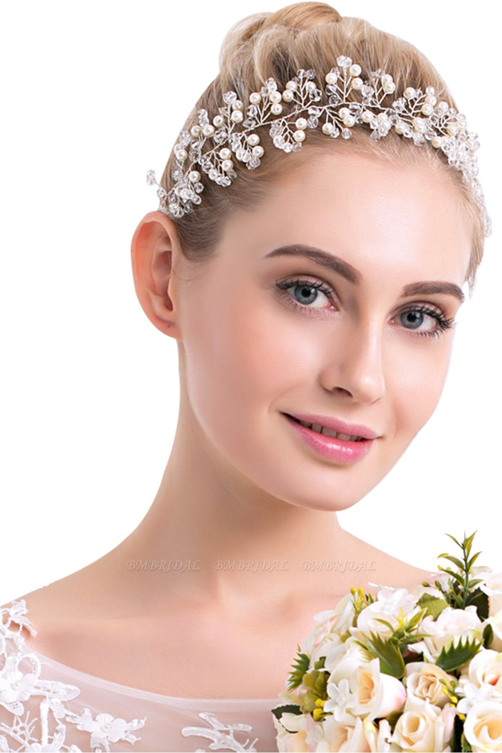 BMbridal Elegant PlasticAlloy Crystal Special Occasion Hairpins Headpiece with Imitation Pearls