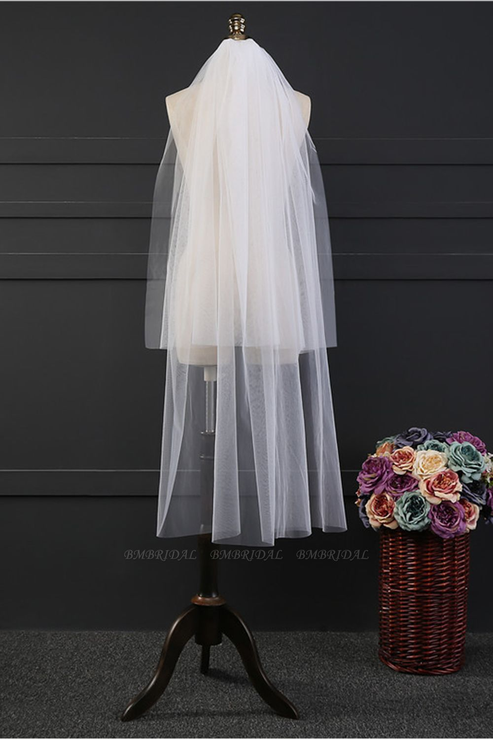 BMbridal Affordable Tulle Cut Edge Wedding Veil
