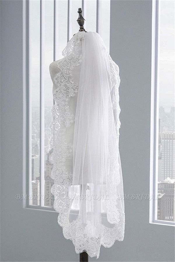 BMbridal Pretty Tulle Lace Scalloped Edge Wedding Veil with Appliques Sequined