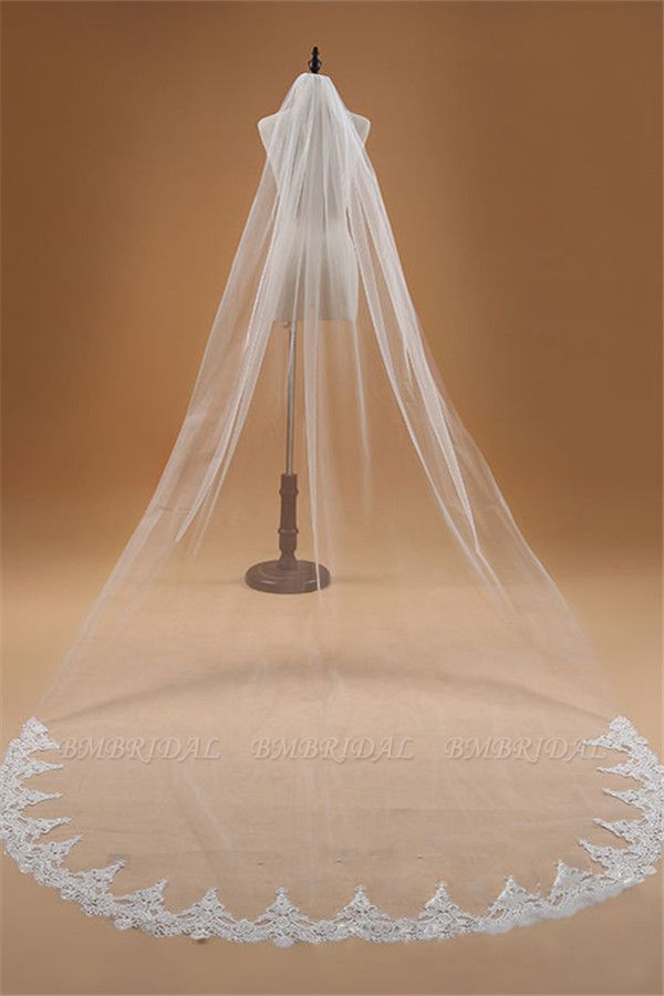 BMbridal Floral Glamourous Tulle Lace Applique Edge Wedding Veil with Comb