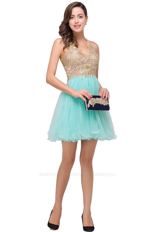 BMbridal Short Tulle A-line V-Neck Appliques Sleeveless Prom Dress