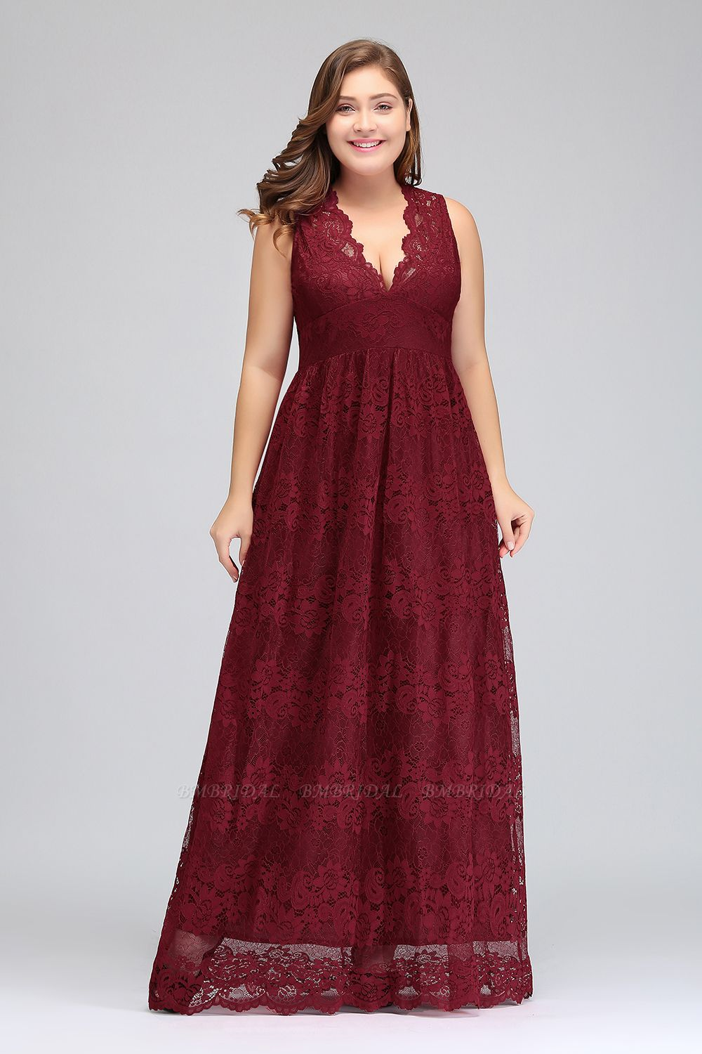 Plus Size A-Line V-Neck Burgundy Lace Bridesmaid Dress Online