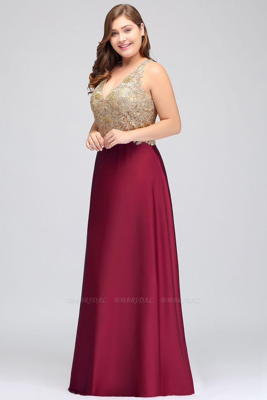BMbridal V-neck Satin Floor-Length A-Line Appliques Backless Prom Dress