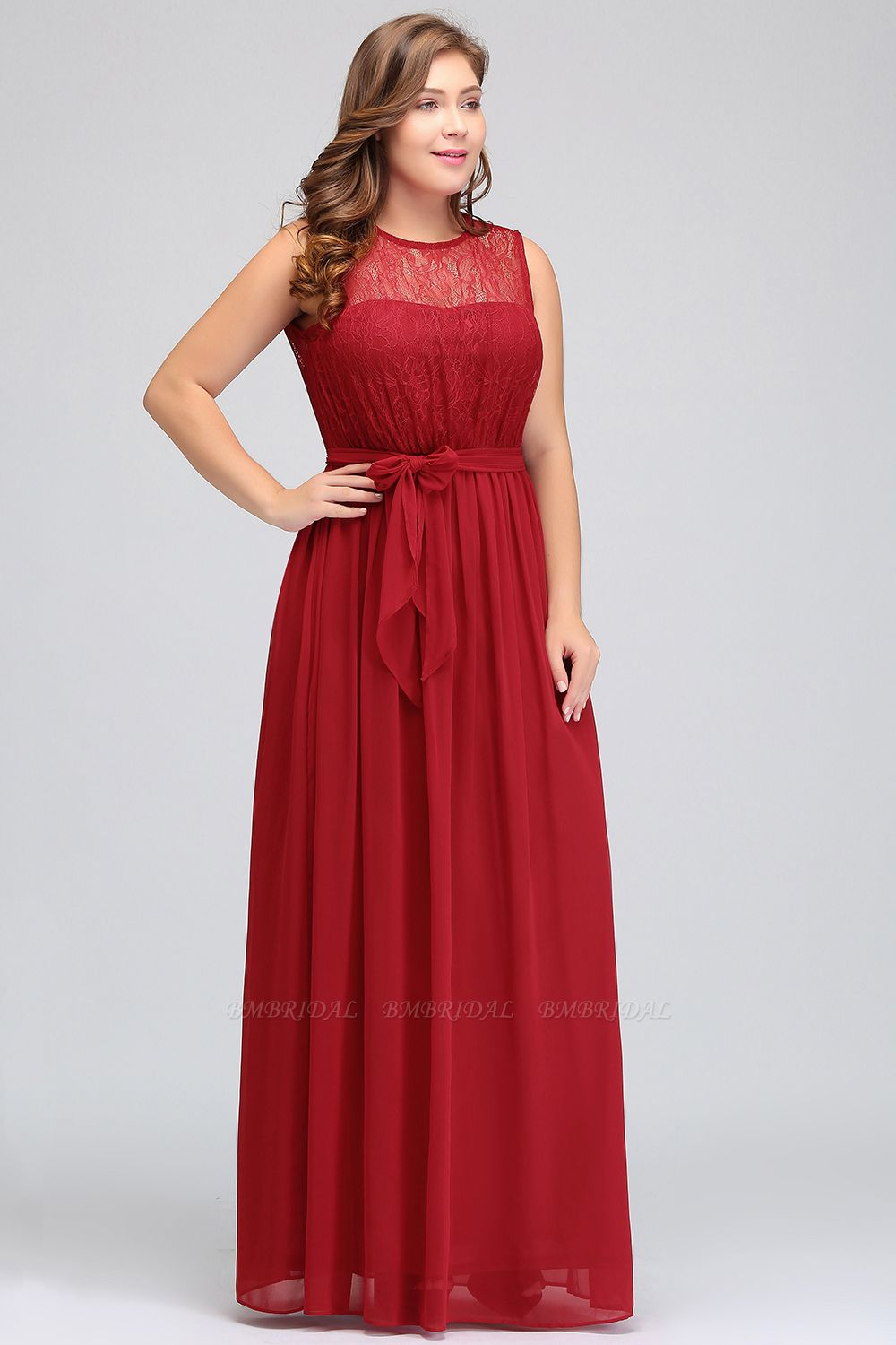 BMbridal Plus Size Jewel Sleeveless Red Lace Long Bridesmaid Dress with Ruffle