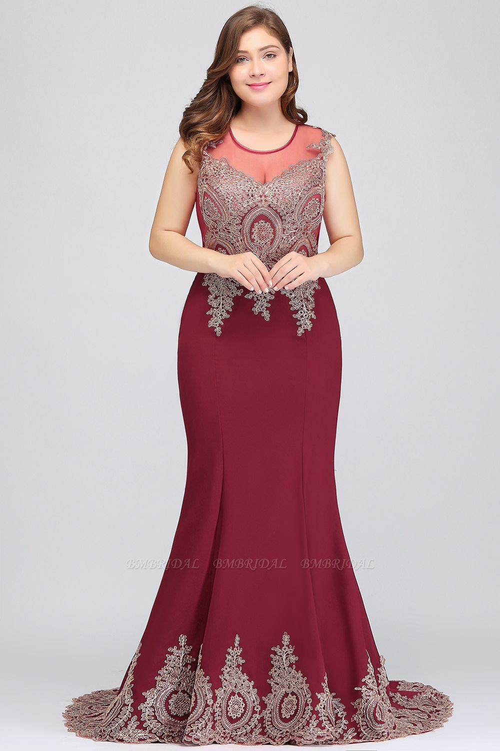 BMbridal Mermaid Court Train Chiffon Evening Dress with Appliques