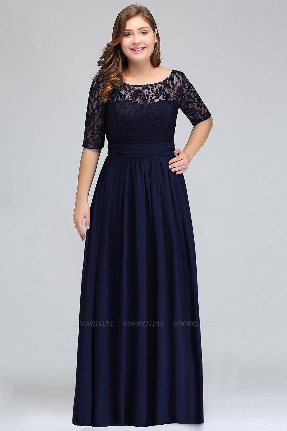 BMbridal Half-Sleeve Lace Long Chiffon Evening Dress