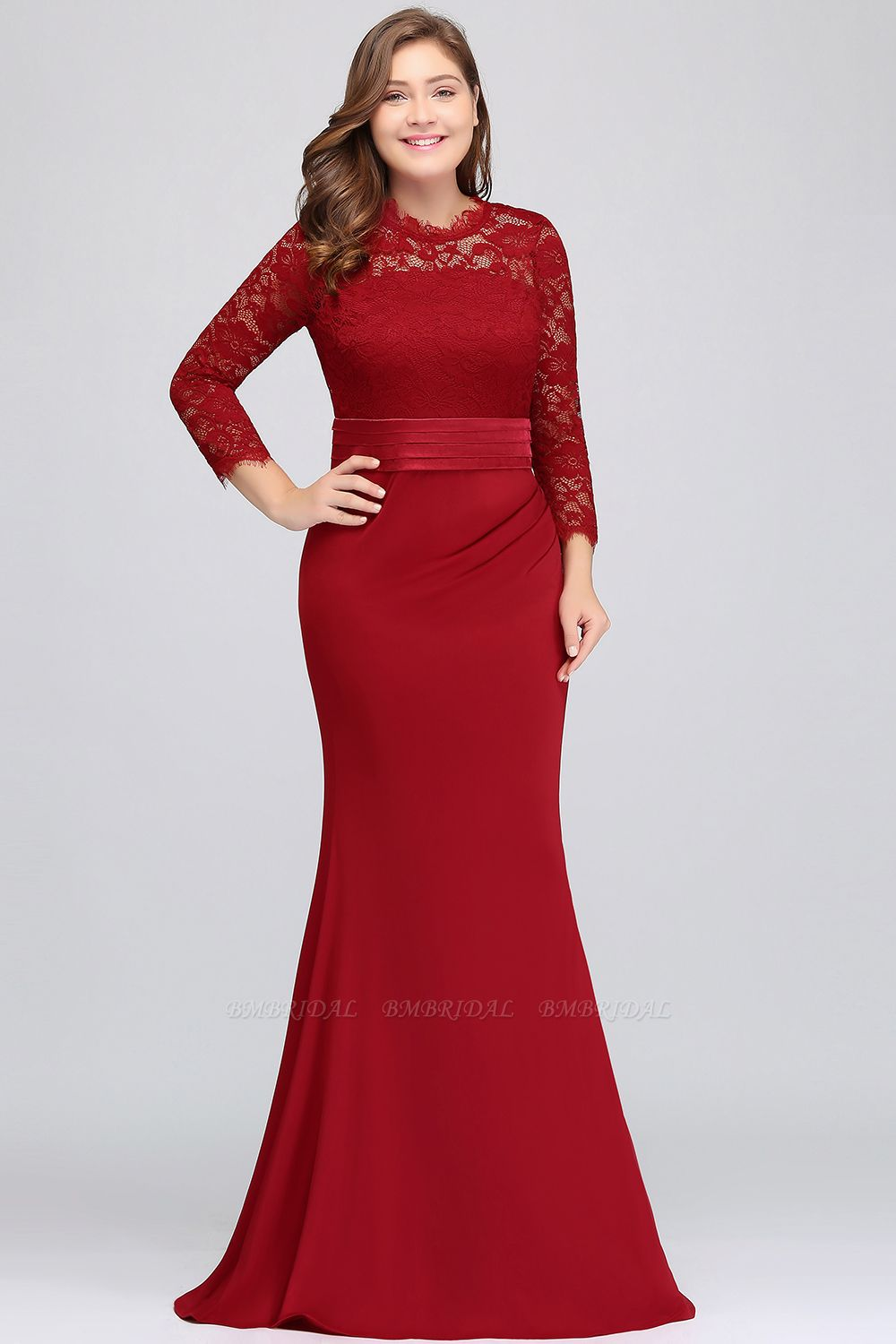 BMbridal Plus Size Mermaid Long Red Lace Bridesmaid Dresses with 3/4 Sleeves