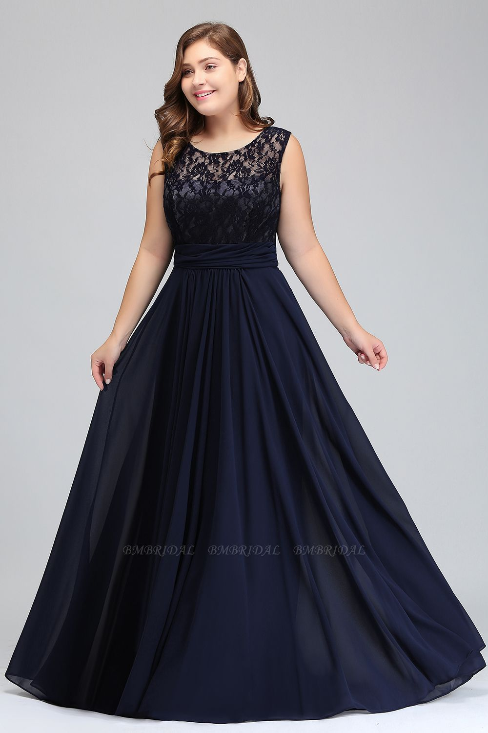 Plus Size Lace Jewel Long Bridesmaid Dress Online with Ruffle