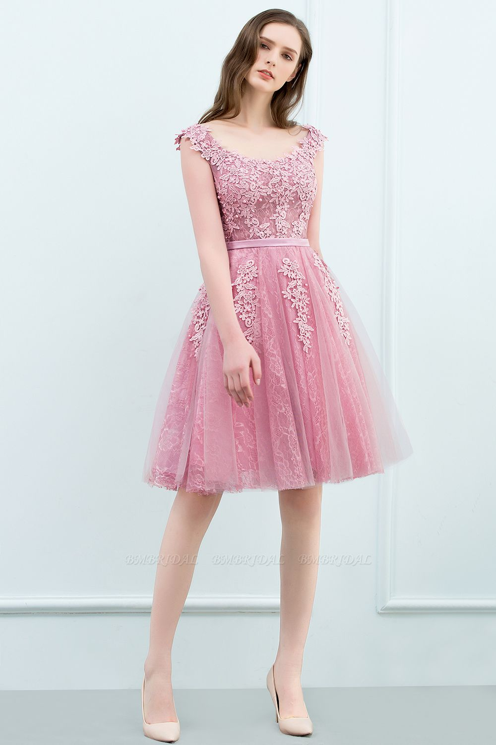 BMbridal Lovely Dusty Pink Short Homecoming Dress With Lace Appliques
