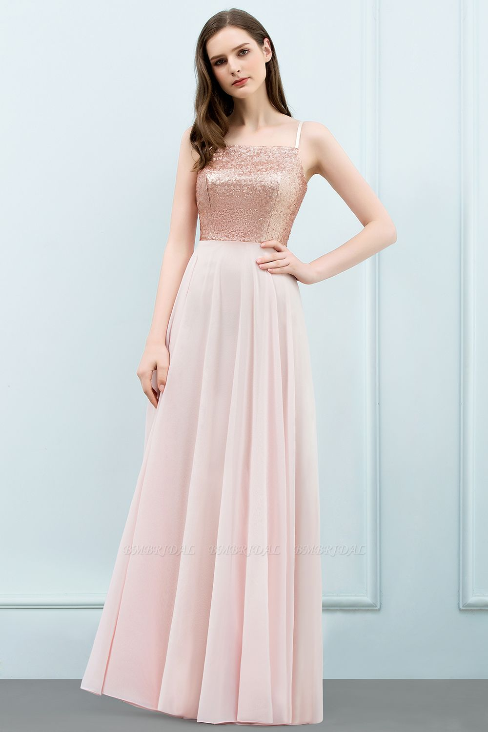 Sparkly Sequined Top Spaghetti Straps Affordable Bridesmaid Dresses Online