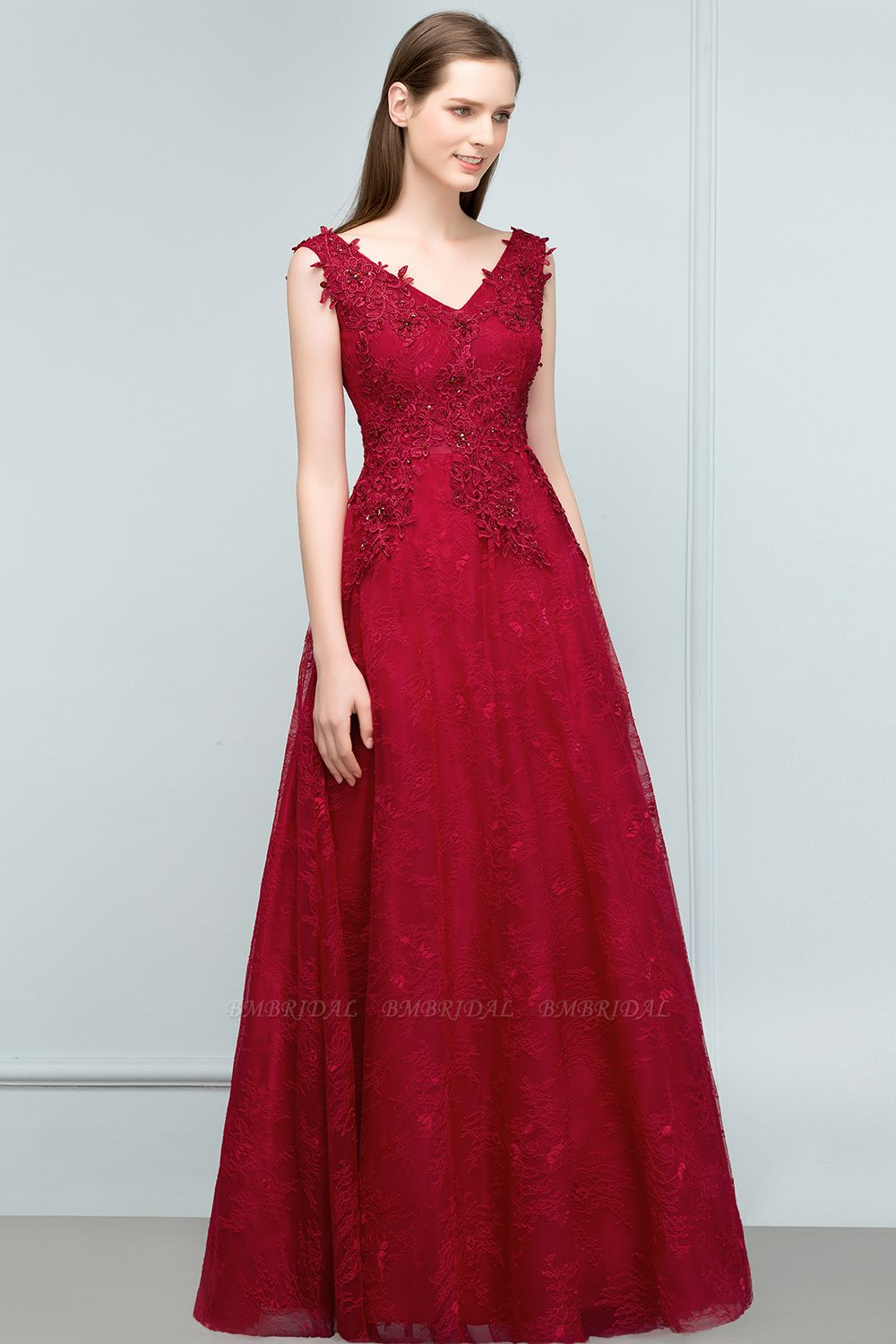 BMbridal Burgundy V-Neck Lace Prom Dress Long Evening Party Gowns With Appliques