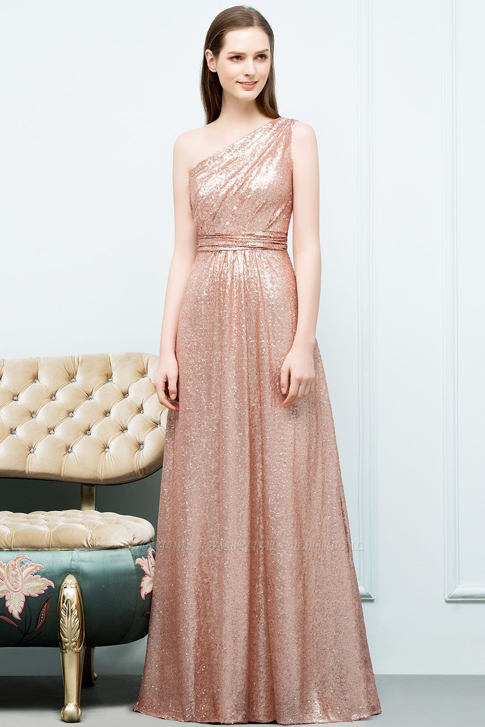 Gorgeous Sequined One-shoulder Bridesmaid Dress with Ruffles