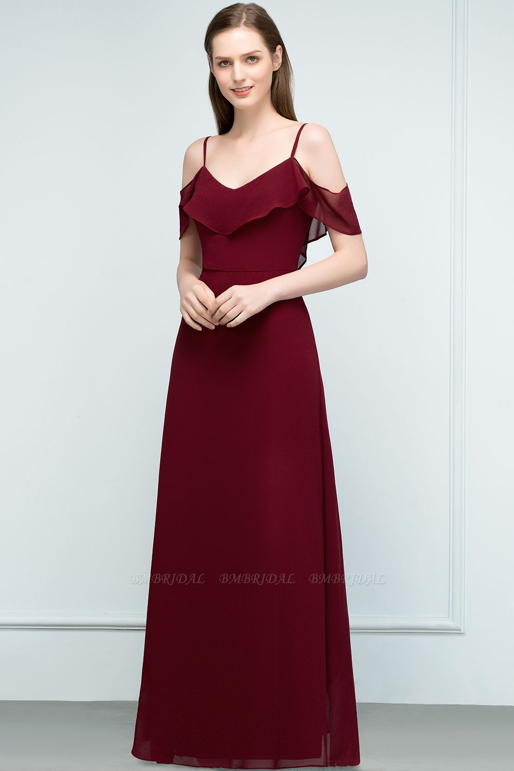 BMbridal Affordable A-line Chiffon Off-the-Shoulder V-neck Long Bridesmaid Dress In Stock