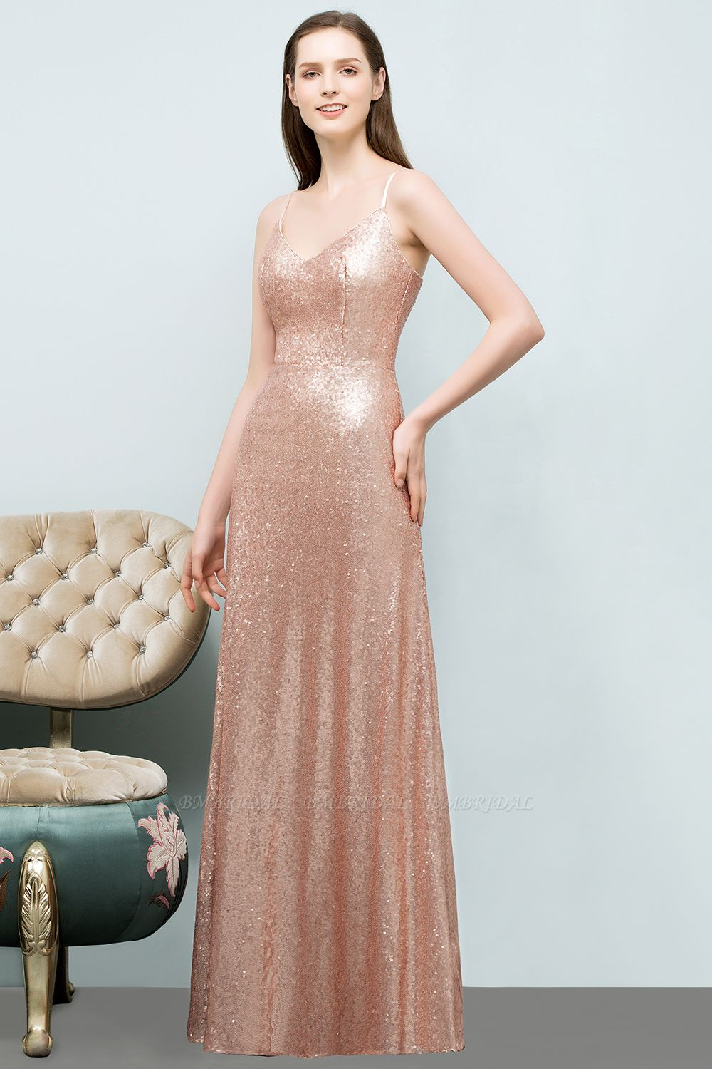 Chic V-Neck Spaghetti-Straps Sequined Long Bridesmaid Dresses Cheap