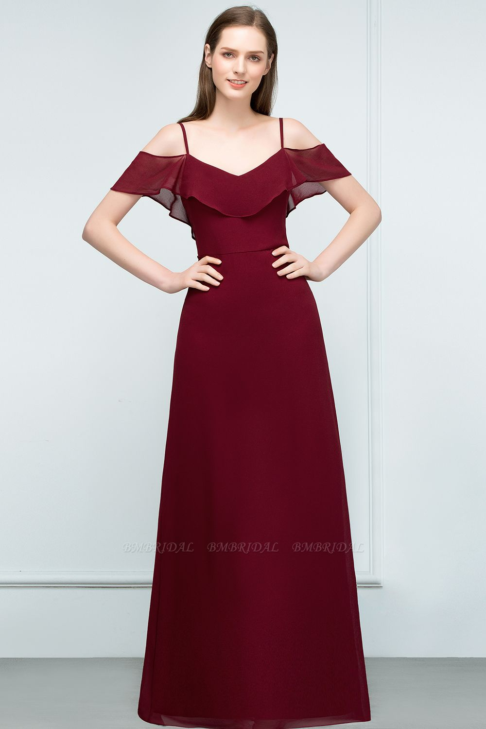 BMbridal Affordable Off-the-shoulder Burgundy Chiffon Bridesmaid Dress With Spaghetti Straps