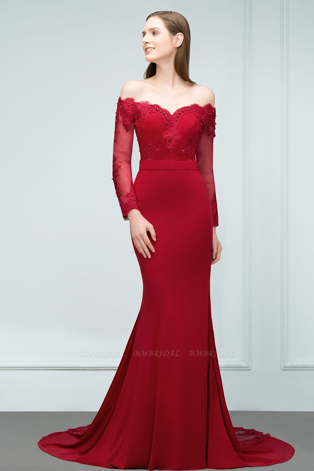 Glamorous Long Sleeve Mermaid Evening Prom Dress With Lace Appliques Online