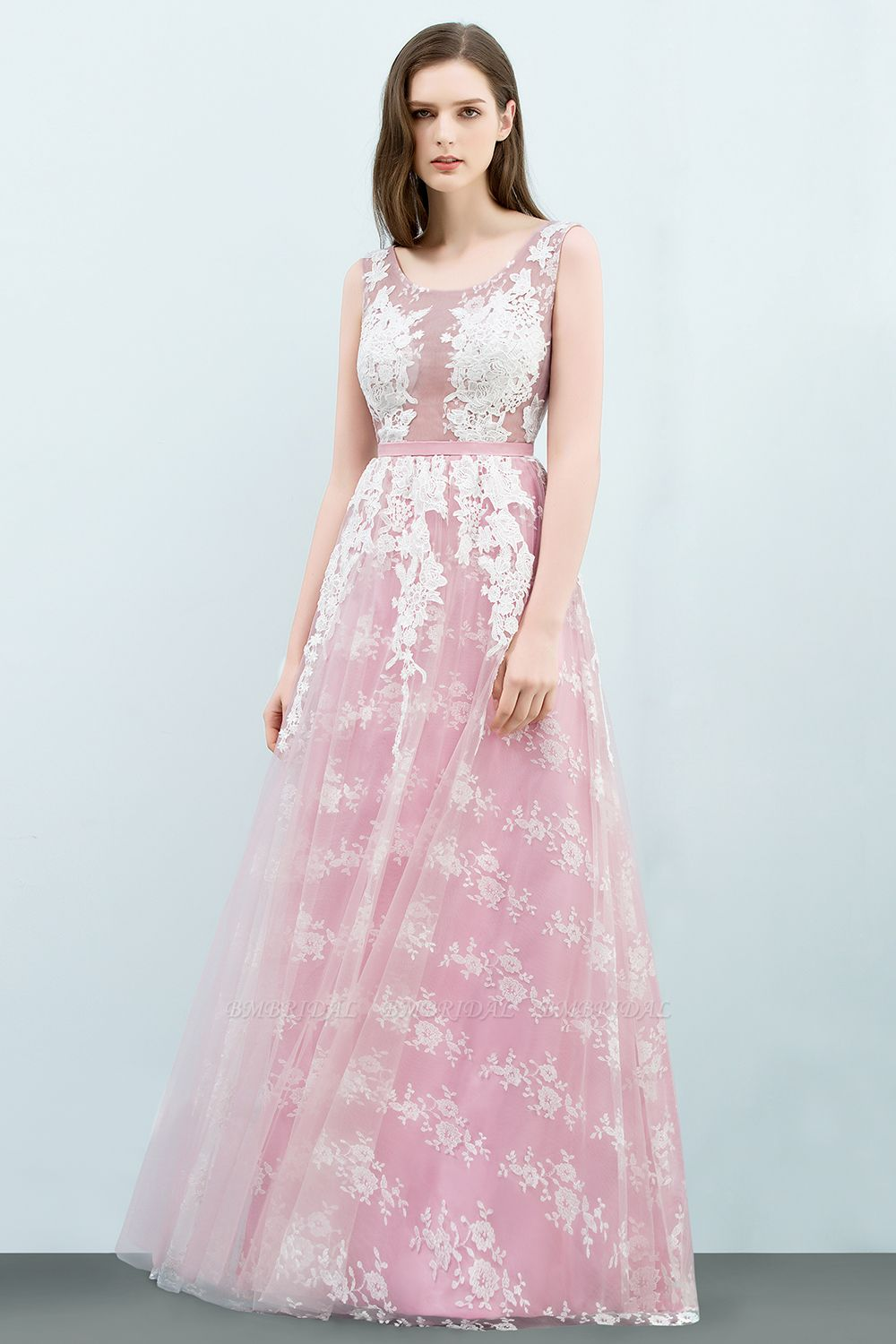 Elegant Pink Sleeveless Prom Dress Tulle Long Evening Gowns With Lace Appliques