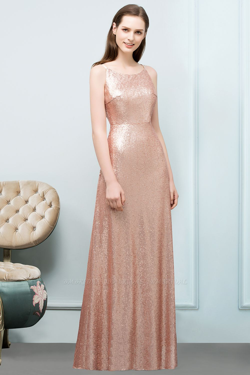Affordable Pink Sequined Long Bridesmaid Dress With Scoop