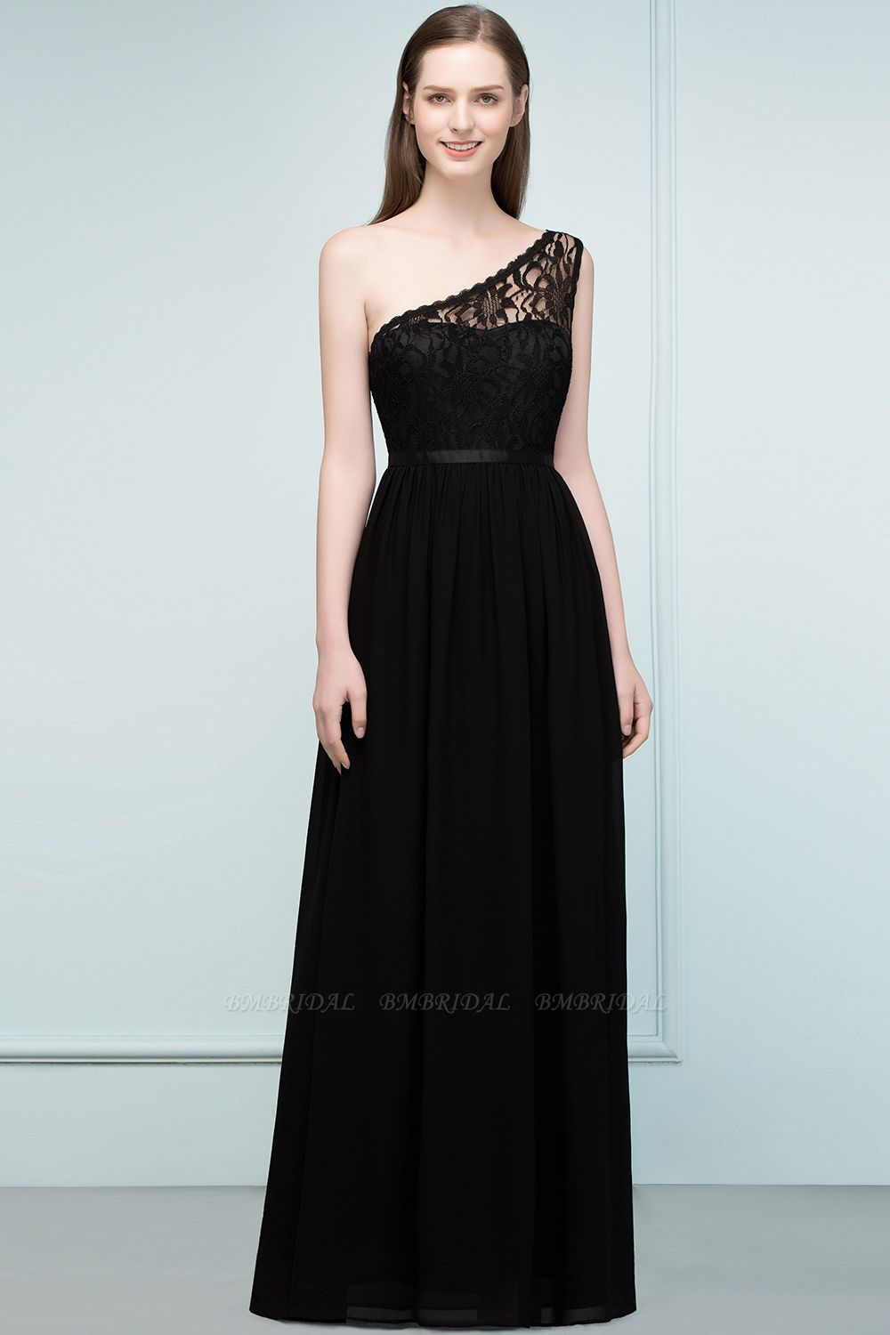 BMbridal Stylish Black Chiffon One-Shoulder Lace Affordable Bridesmaid Dresses