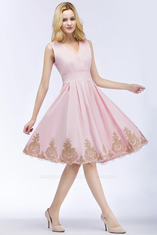 BMbridal A-line V-neck Knee Length Sleeveless Appliques Homecoming Dress Online