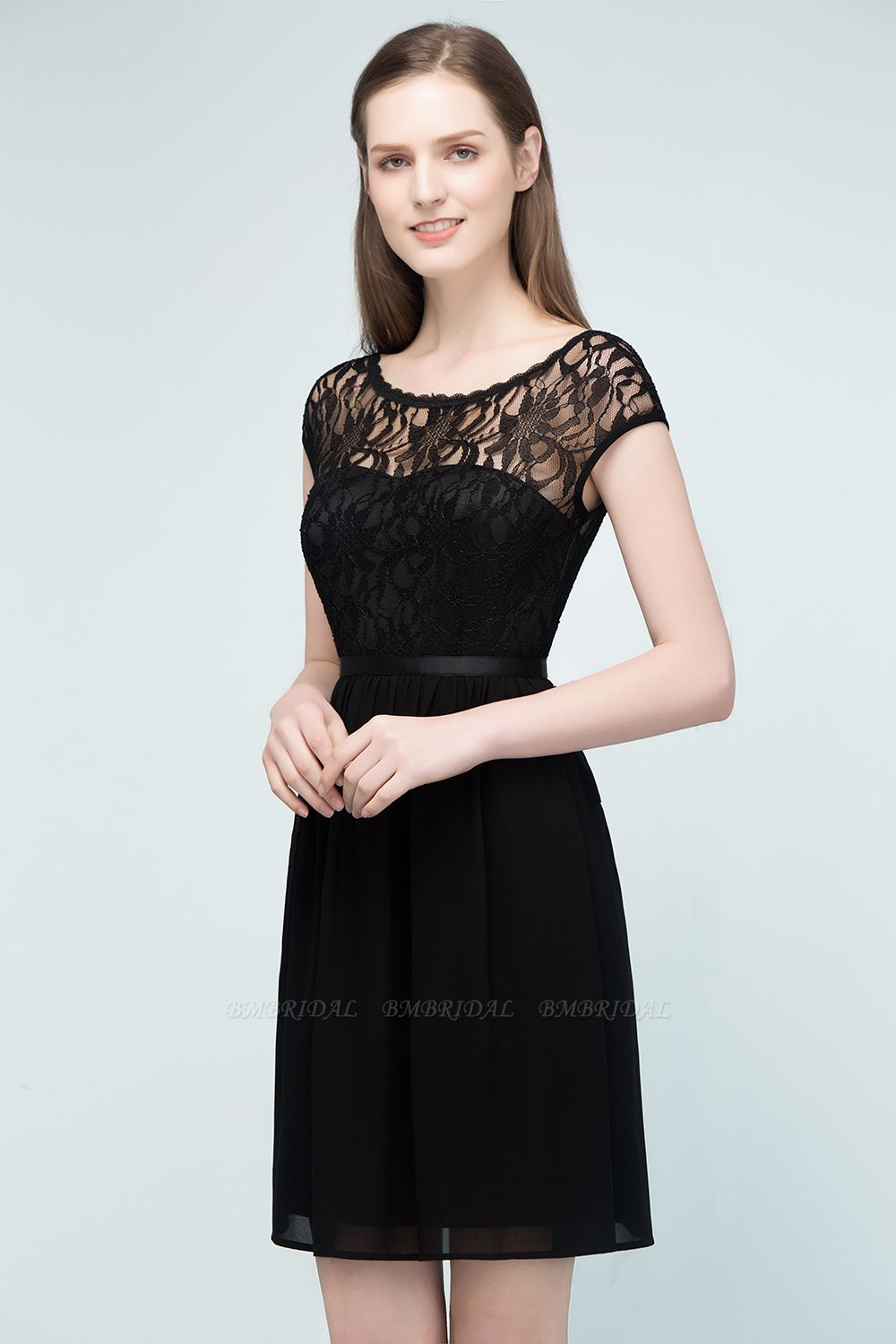 BMbridal A-line Short Scoop Lace Top Chiffon Bridesmaid Dress