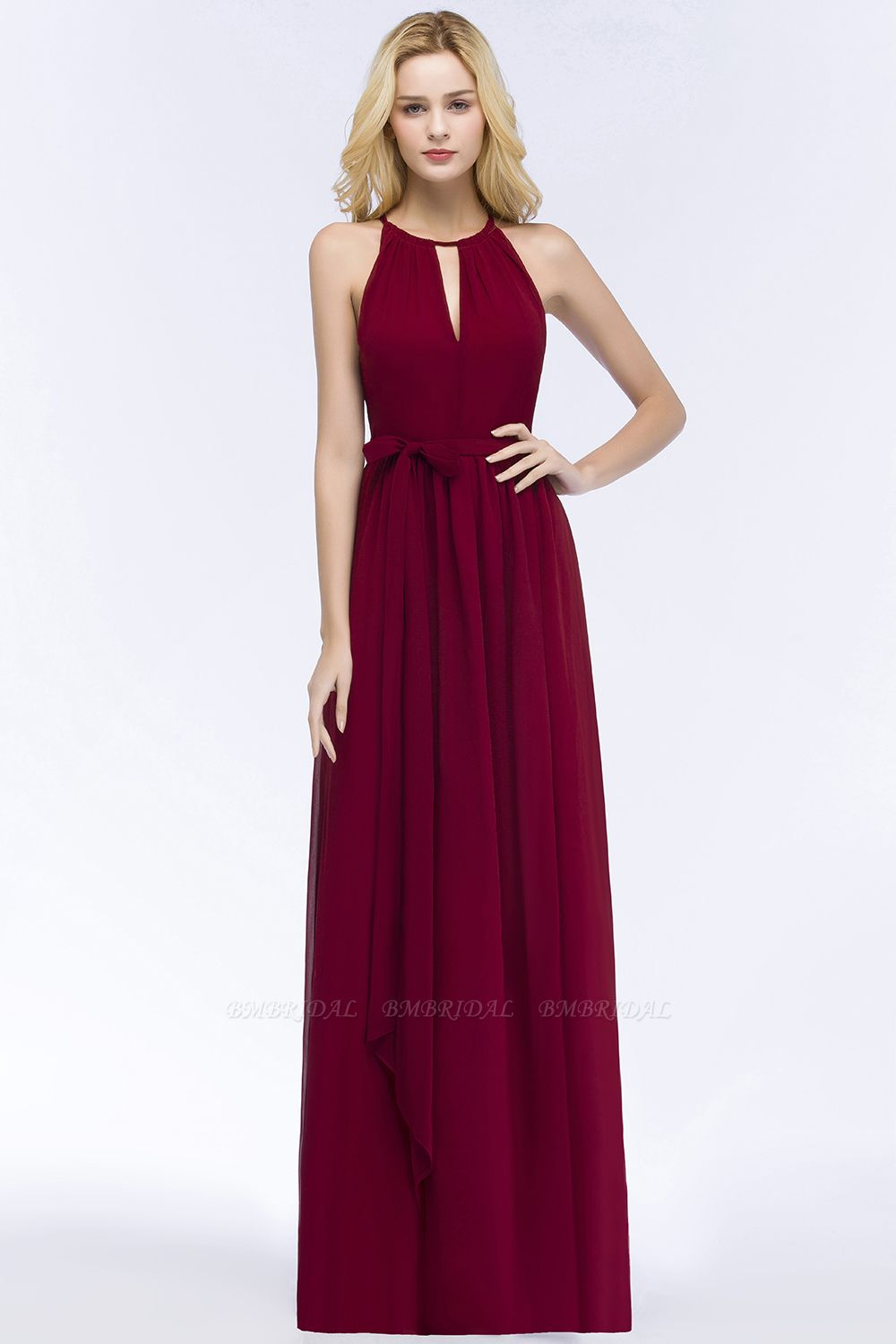 BMbridal A-line Halter Floor Length Burgundy Bridesmaid Dress with Bow Sash