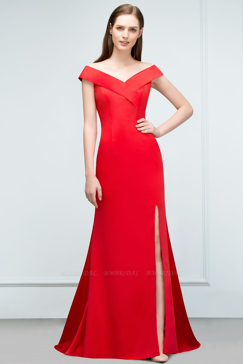 BMbridal Red Off-the-Shoulder Mermaid Prom Dress Long With Split