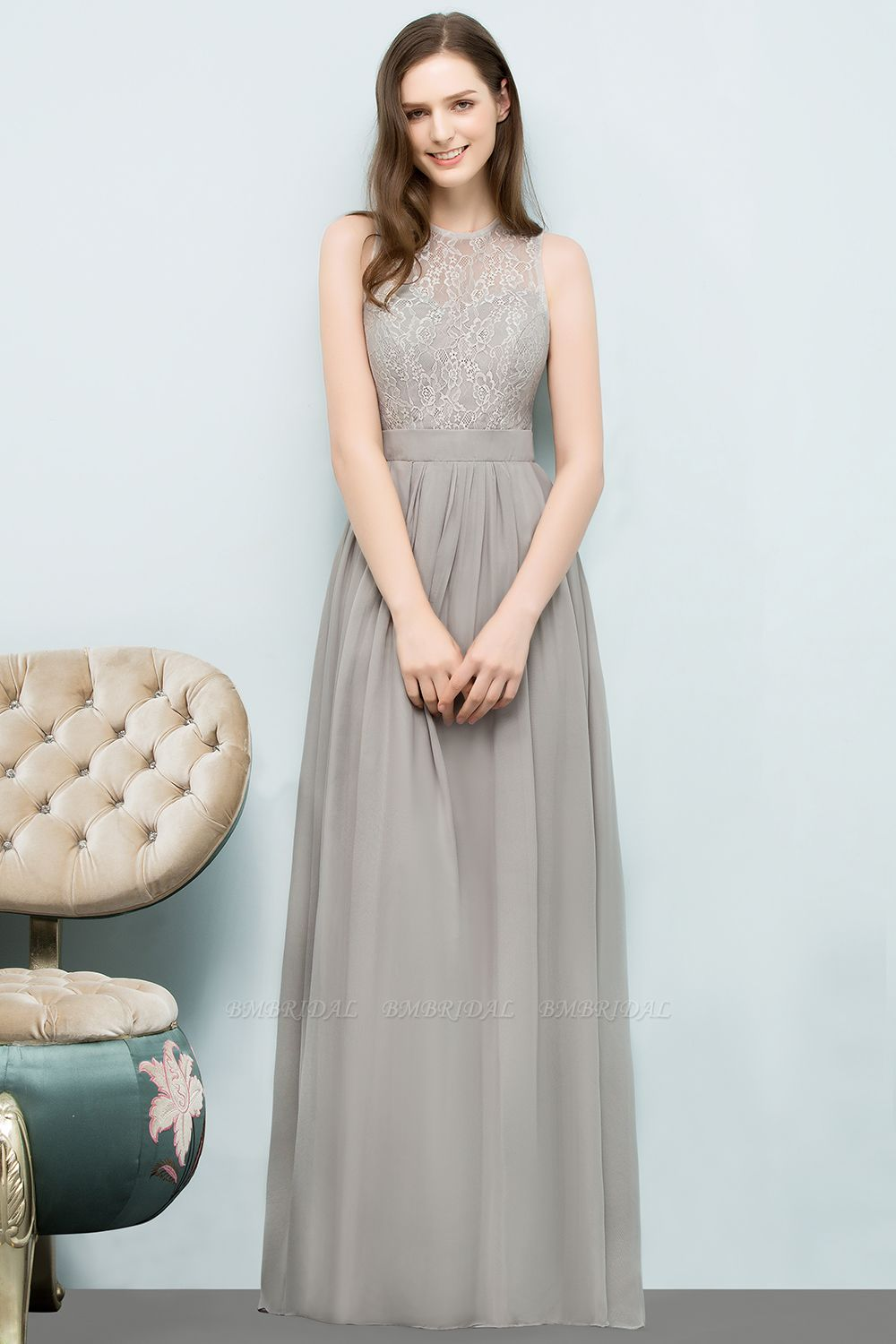 Affordable Lace Sleeveless Silver Bridesmaid Dress with Ruffles