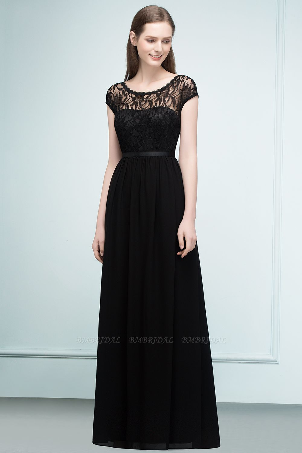 Affordable A-line Short-Sleeves Black Lace Bridesmaid Dress with Sash In Stock
