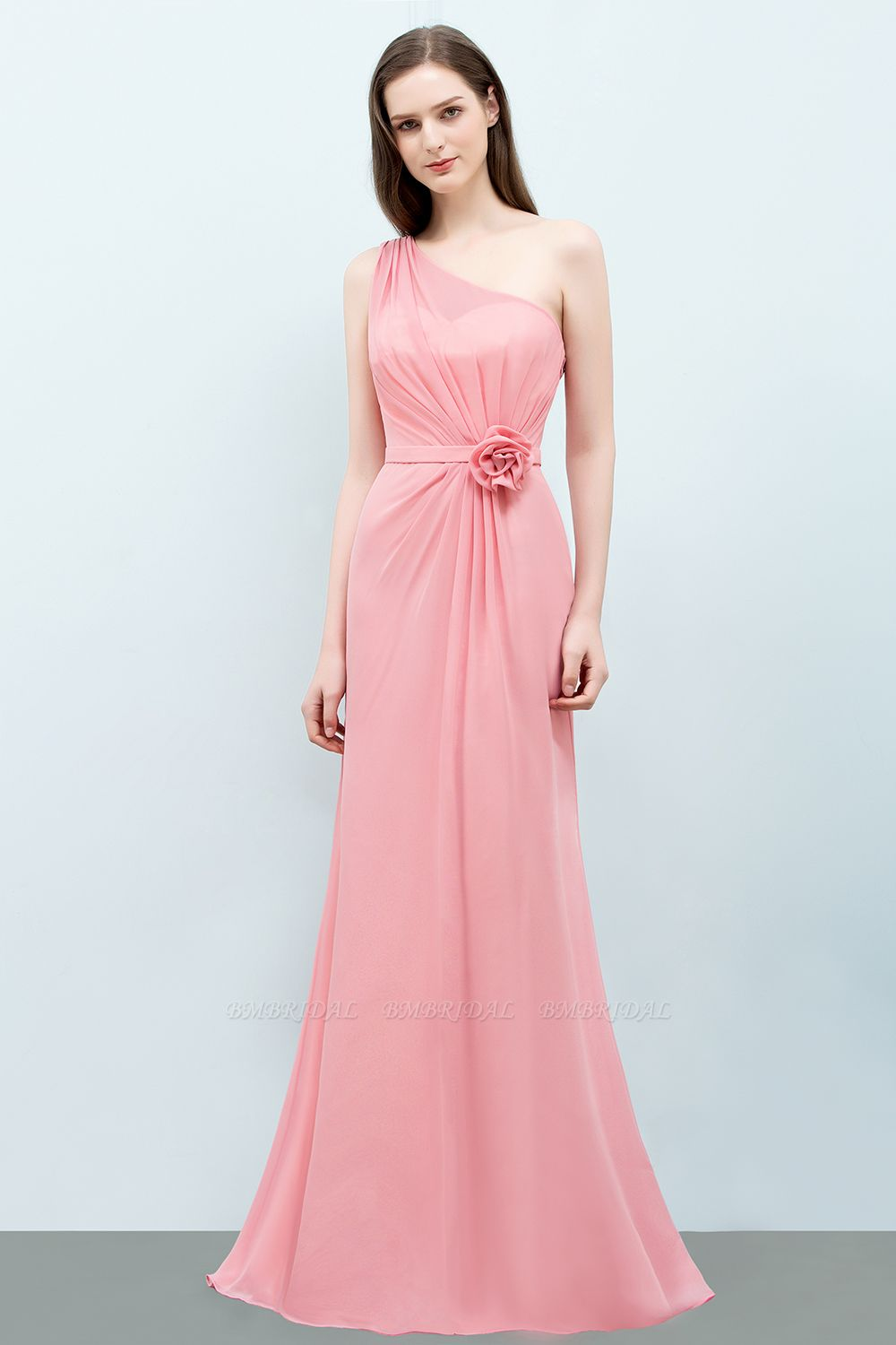 Affordable Mermaid One shoulder Pink Bridesmaid Dresses with Flowers